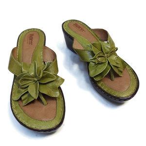 BØRN Green Flower Sandals Wedge Heel Flip Flop 7